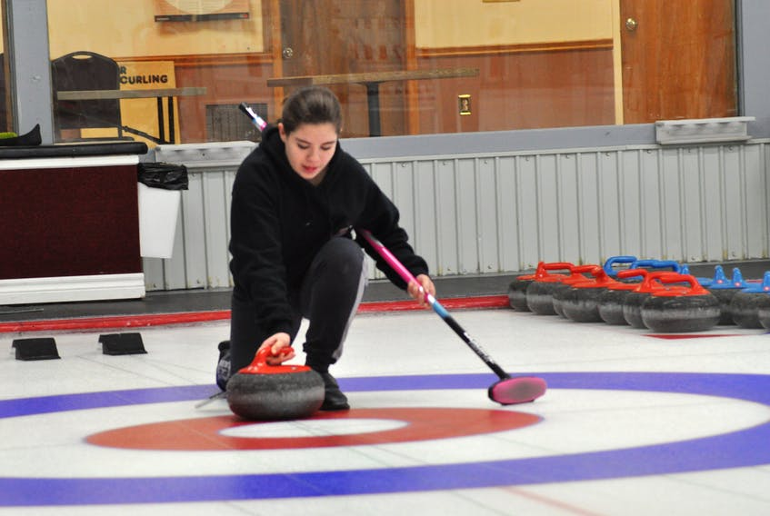Olivia Ayre is one of the participants in the Learn To Curl program at Caribou Curling Club in Stephenville. She was busy throwing stones at the Caribou Curling Club Tuesday afternoon. The six-week program runs Sunday night 7-9 p.m. at the curling facility.