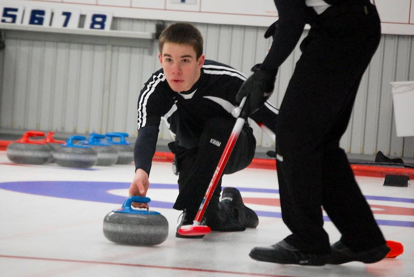 Stephenville native Kyle Barron is shown here in action at the 2017 provincial junior curling championships in this Star file photo.