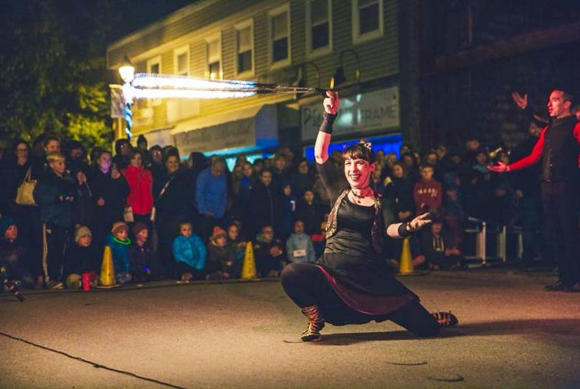 """The Wonderbolt Circus lit up West Street with their performance of """"All Fired Up"""" during the Nuit 150 festival in Corner Brook on Saturday night."""