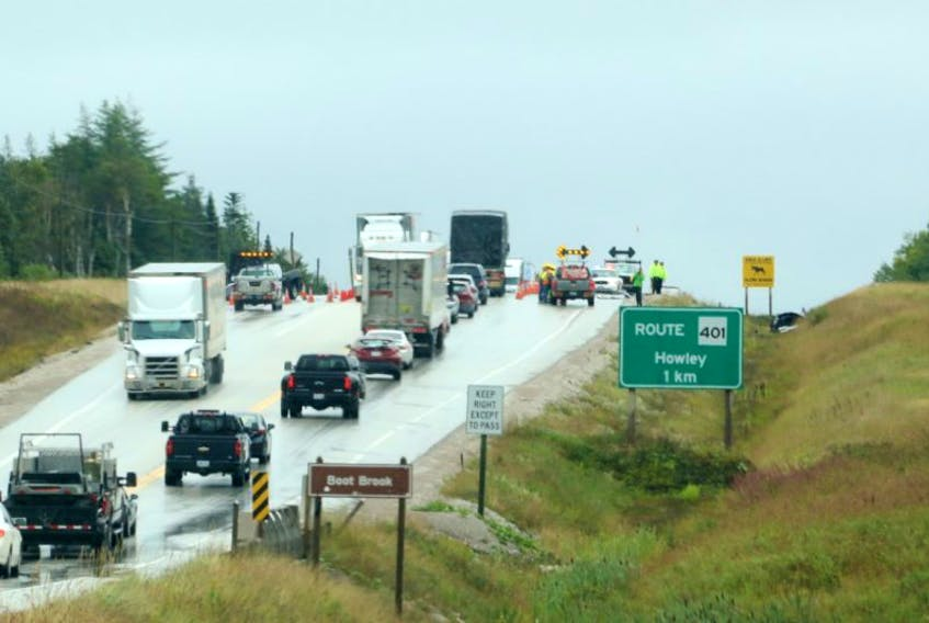 Traffic was delayed for hours after a two-vehicle accident near Howley Junction on the Trans-Canada Highway Wednesday.