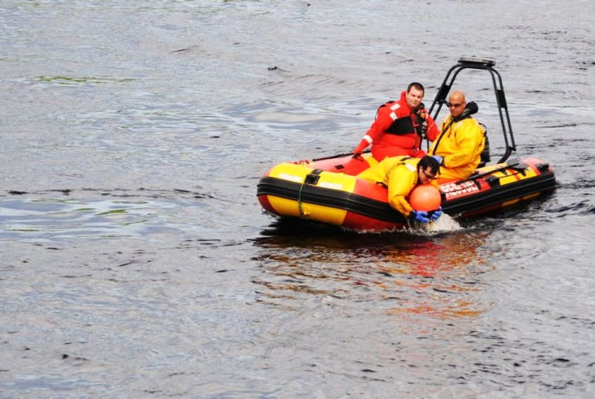 Members of the Corner Brook Fire Department were out on the Humber River training on the department's new rescue watercraft Monday morning.