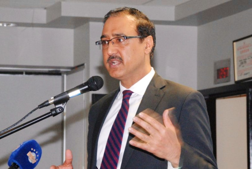 Amarjeet Sohi, Minister of Infrastructure and Communities, delivers his address to members of the Greater Corner Brook Board of Trade Friday at the Corner Brook Civic Centre.