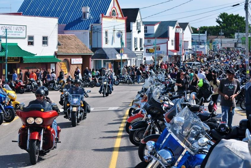 <p>Bikers filled the downtown during the 10th Wharf Rat Rally on Labour Day weekend. Motorcycles were parked the length of Digby's front street and along First Avenue as well.</p>