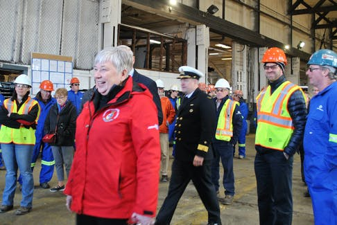 Bernadette Jordan, Minister of Fisheries, Oceans and the Canadian Coast Guard, arrives at Shelburne Ship Repair Monday to announce a $12.1 million contract to retrofit the Canadian Coast Guard Ship (CCGS) the Edward Cornwallis. Tri-County Vanguard - KATHY JOHNSON