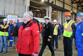 Bernadette Jordan, minister of Fisheries, Oceans and the Canadian Coast Guard, arrives at Shelburne Ship Repair on March 2 to announce a $12.1 million contract to retrofit the Canadian Coast Guard Ship (CCGS) the Edward Cornwallis. KATHY JOHNSON