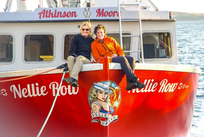 Gail Atkinson, left, and Kath Moore will be fishing with an all female crew this season in LFA 33 aboard the Nellie Row.