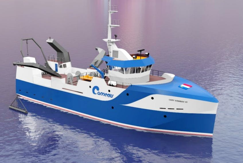 A conceptual model of the frozen-at-sea scallop-fishing vessel Comeau's Sea Foods is planning to have built.