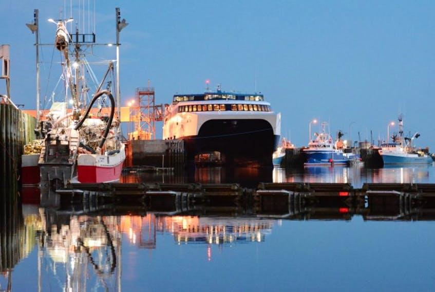 The Cat ferry overnighting in Yarmouth awaiting a morning sail to Portland, Maine.
