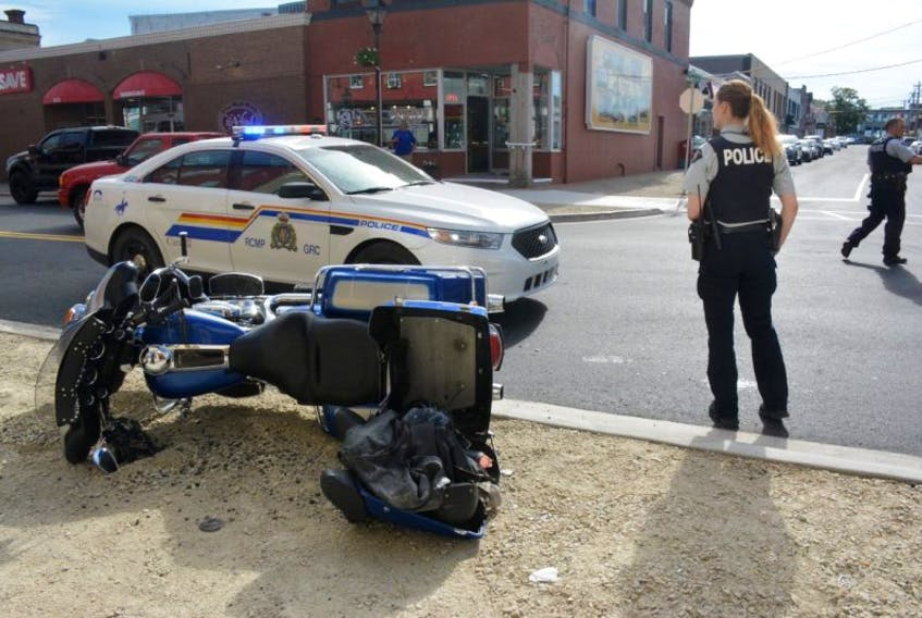 The driver of a motorcycle travelling south-bound on Yarmouth's Main Street was taken to hospital after hitting the curb of a newly installed bumpout and losing control of his motorcycle.