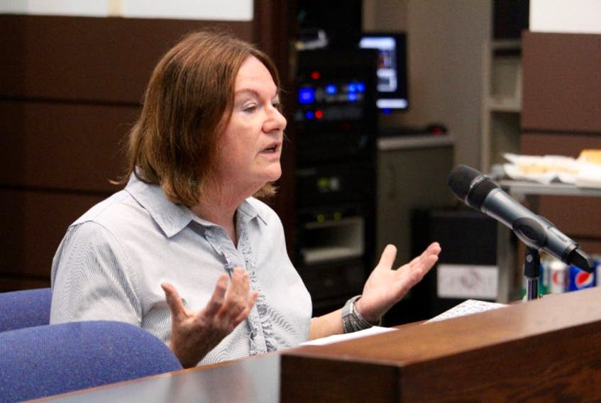 Stephanie Eldridge speaking Tuesday evening, Sept. 19, at a meeting of the Town of Yarmouth's planning advisory committee.