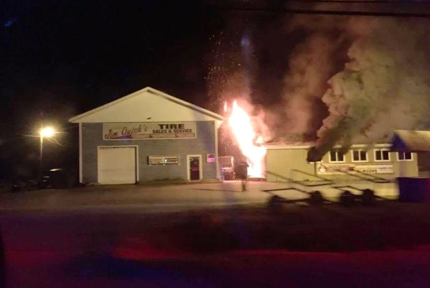 Chuck's Diner on the Hardscratch Road in Yarmouth County was gutted by an early morning Aug. 29 fire. This photo was taken around 5:20 a.m. as the fire department was also arriving on the scene.