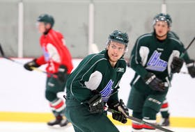 Winger Zachary L'Heureux skates during his first practice with the Halifax Mooseheads at training camp at the RBC Centre in Dartmouth on Sunday. (ERIC WYNNE)